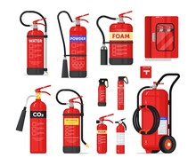Portable Or Industrial Fire Extinguisher Firefighter Equipment. Fire-fighting Safety Unit Different Shape And Type For Prevention And Protection From Flame Spread Vector Illustration Isolated On White