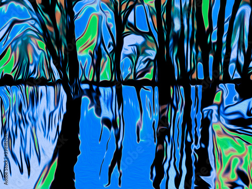 Obraz Oil painting pixel art illustration of fantasy colorful forest and sky reflecting in water - fototapety do salonu