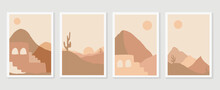 Desert Illustration Minimal Wall Arts Design Vector.  Collection Of Mountain And Landscape Of Oasis Town Desert Sand And Giant Saguaro Cactus Sunset Hand Drawn Digital Arts For Print And Wallpaper.