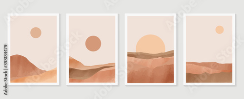 Fototapeta Mountain wall art vector set