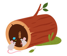 Funny Mice As Forest Animal Pepped Out From Hollow Log Vector Illustration