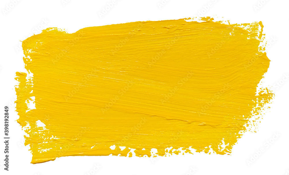 Fototapeta Vector paint brush stroke texture isolated on white - yellow acrylic element for Your design