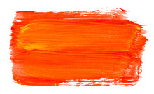 Vector Paint Brush Stroke Texture Isolated On White - Orange Acrylic Element For Your Design