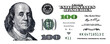 U.S. 100 dollar banknote. Elements for design purpose on white background