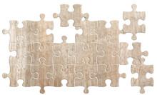 Pièces De Puzzle En Bois, Fond Blanc