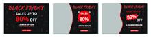 Black Friday Mega Sale Banner Set, Social Media Post Or Web Ads And Instagram Design Template, Price Off The Discount Background. Vector Illustration.