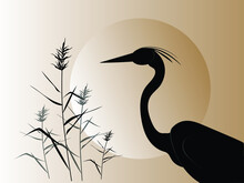 A Heron Silhouette Next To The Reeds Against The Backdrop Of A Large Circle Of The Sun. Vector Drawing.