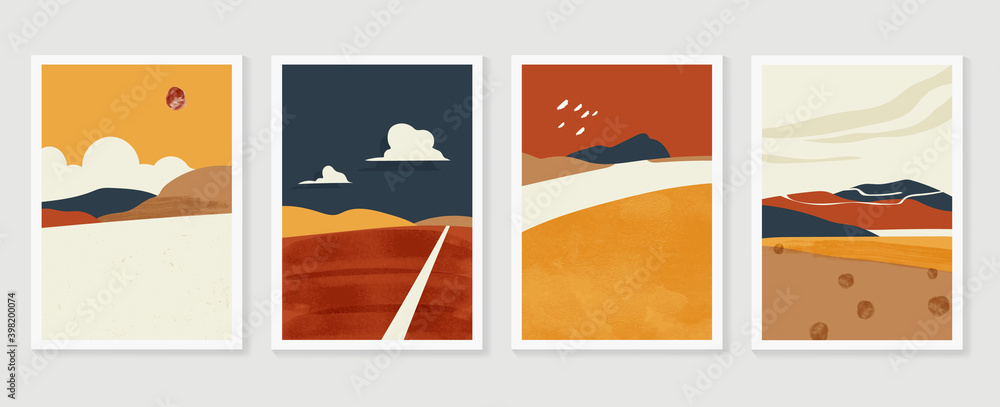 Fototapeta Mountain and landscape wall arts collection. Abstract art with land, desert, home, way, sun, sky. Design for wall art home decoration, prints, digital and smart phone wallpaper, fabric and background