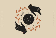 Female Hands Hold Branches Around The Shimmering Moon. Magic Vector Illustration In Trendy Minimal Style. Mystical Symbols For Spiritual Practices, Ethnic Magic, And Astrological Rites.