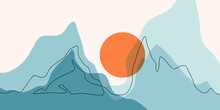Abstract Mountain Range Landscape, Flat Scenery Background
