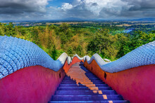 The Stairway Up To Wat Phra That Doi Phra Chan Is Another Beautiful Temple In Mae Ta District, Lampang Province, Thailand.