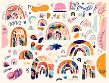 Big Spring Collection Of Decorative Doodles And Rainbows And Abstract Shapes With Splashes