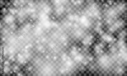 Fotomural Heavy snowfall on a transparent background. Vector illustration.