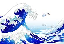 浮世絵的風景、大波と鶴の和風な風景イラスト
