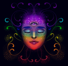 Illustration Of A Portrait Of A Girl On A Dark Background, With A Third Eye. Meditation In A State Of Harmony, With Curls Of Chakra Flowers. Poster Symbolizing Enlightenment, Harmony Of Mind And Body