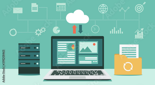 Cloud computing technology network with computer and storage room, Online devices upload, download information and data in database with business icon, vector flat illustration