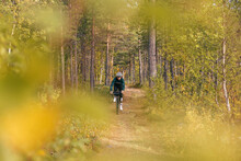 Professional Athletic Road Cyclist Ride Carbon Gravel Bike Of Beautiful Autumn Forest Trail. Cycling Exploration Adventure Or Ultra Endurance Long Distance Race. Amazing Autumn Foliage