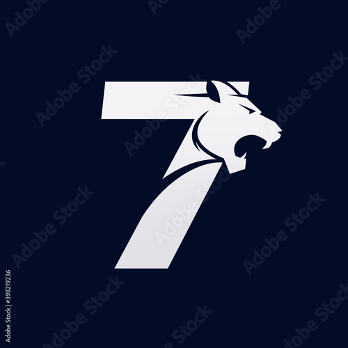 Tablou Canvas Number Seven Tiger, Numeral Predator Logo Design Vector