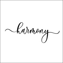 Harmony Hand Lettering Inscription With Curls.