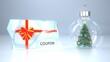 Leinwandbild Motiv Coupon Ice Christmas Tree Snow Ball