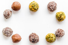 Food Pattern Of Homemade Energy Balls With Dried Fruita And Coconut