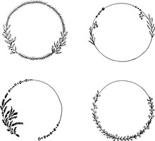Hand Drawn Vector Frame. Clipart. Floral Wreath With Leaves For New Years, Christmas, Weddings And Celebrations. Decorative Elements For The Design Of Cards, Invitations .set Of Frames With Flowers