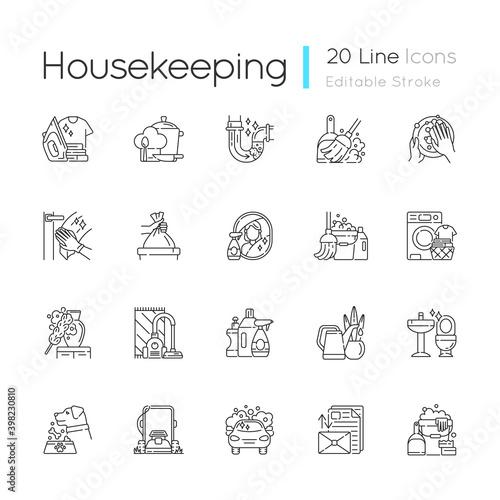 Tela Housekeeping linear icons set