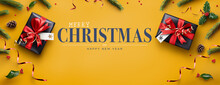 Yellow Merry Christmas Website Banner Background Of Presents, Red Ribbon, Holly And Pine Cones.