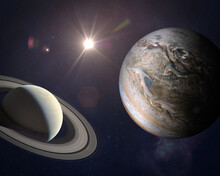 Great Conjunction: Jupiter And Saturn. Elements Of This Image Furnished By NASA.
