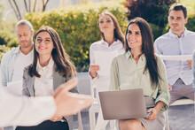 Portrait Of Nice Cheerful Smart Trendy Entrepreneurs Attending Conference Listening Speaker Finance Management On Fresh Air Park Outside Outdoor