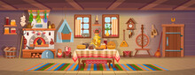 The Interior Of An Old Russian Hut With Old Baby Cradle, Russian Stove, Spindle, Samovar, Dry Herbs,balalaika, Matryoshka, Bast Shoes, Jam, Wooden Bucket, Windows, Door.Old Kitchen Interior.Сartoon