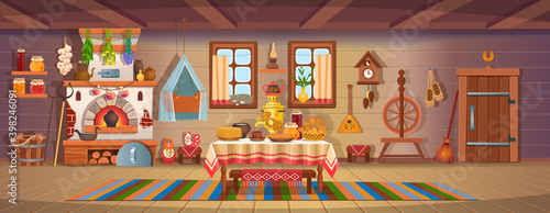 Fotografie, Obraz The interior of an old Russian hut with old baby cradle, russian stove, spindle, samovar, dry herbs,balalaika, matryoshka, bast shoes, jam, wooden bucket, windows, door