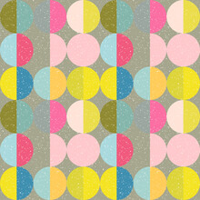 Modern Vector Abstract Seamless Geometric Pattern With Semicircles And Circles In Retro Scandinavian Style. Pastel Colored Colorful Shapes With Worn Out Texture .