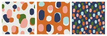 Set Of Trendy Abstract Vector Patterns With Blobs, Ovals, Spots. Trendy Geometric Cut Out Shapes. Bold Prints For Fashion, Paper, Gifts.
