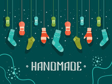 Cover Design With Handmade Warm Clothes. Hanging Mittens, Socks, Yarn Vector Illustrations With Text On Dark Background. Fashion And Hobby Concept For Poster, Website Or Webpage Background