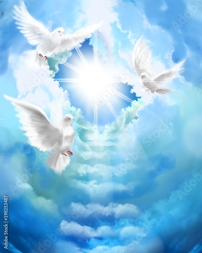 Obraz na plátne The flying three white doves around clouds stairs leading to shining heaven and