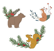 Set Of Christmas Animals. Wreath With Woodland Animals.