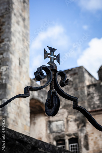 Templar cross in the Castle of Tomar. Medieval city of Tomar, Portugal