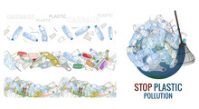 Vector Hand Drawn Set Of Objects And Seamless Patterns With Sorted Plastic Garbage Isolated On White.