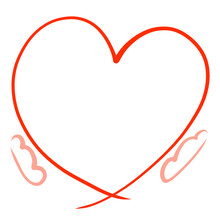 Big Red Heart In Hands, Gift And Frame
