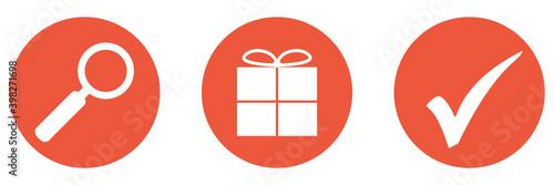 Canvas Print Roter Banner mit 3 Buttons: Geschenke schnell und einfach suchen und finden