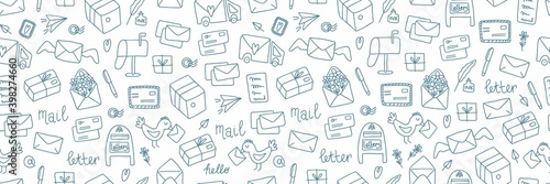Fototapeta Post doodle web banner. Hand drawn cute mails and letters, documents, package and envelope, vintage correspondence, delivery service and post office blue vector elements on white horizontal background obraz