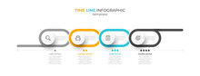 Timeline Infographic Design With 4 Options Or Steps. Can Be Used For Business Concept Layout, Brochure, Info Chart, Web Design.
