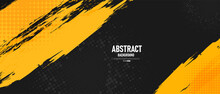 Black And Yellow Abstract Background With Brushstroke And Halftone Style.