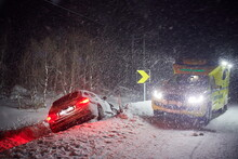 Car Accident On Slippery Winter Road At Night