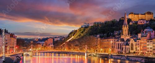 Fototapeta View of Saone river in Lyon city at evening obraz