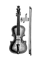 Musical Instrument: Violin With Its Classical Shape And Fiddlestick