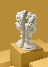 Symmetry Of Cut Gypsum Statues.