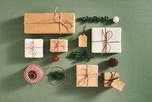 Christmas Composition. Christmas Gift. Flat Lay, Top View