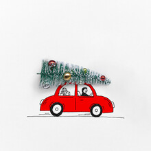 Christmas Tree On A Sketched Red Car.